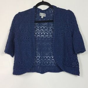JM Collection Cropped Crocheted Sweater Size M  G1
